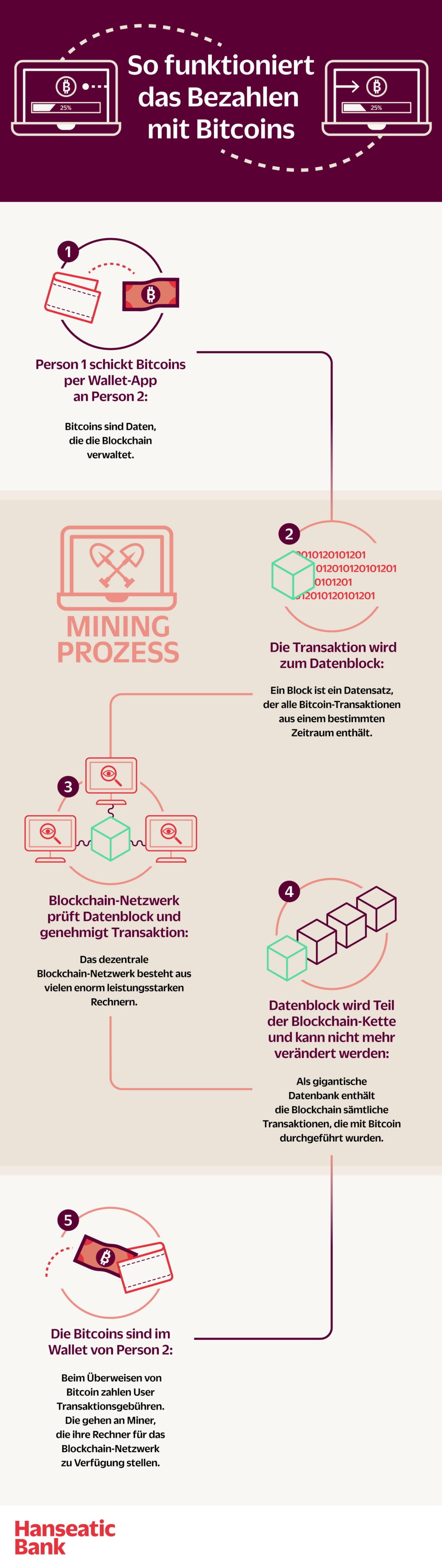 Infografik Bezahlen mit Bitcoins