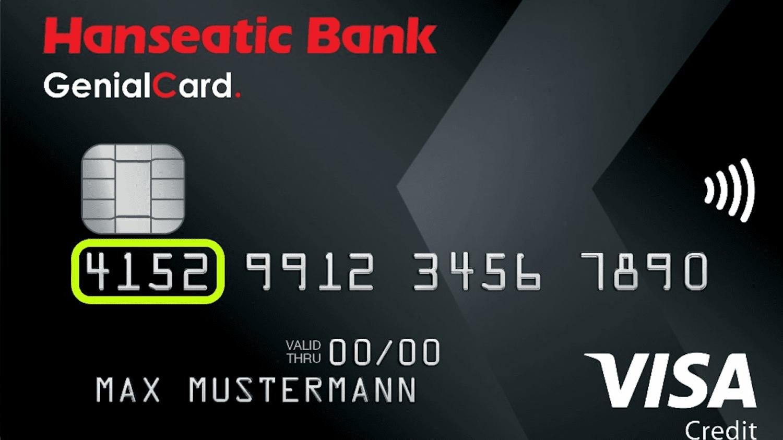 Eine Kreditkarte, auf der die 4-stellige BIN farbig umrandet ist.