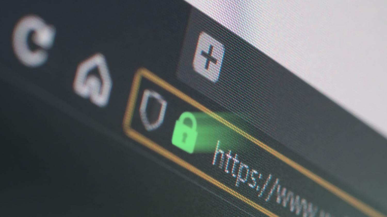 Detailaufnahme der Adressleiste eines Webbrowsers, in der ein Schloss-Icon neben einer https-URL zu sehen ist