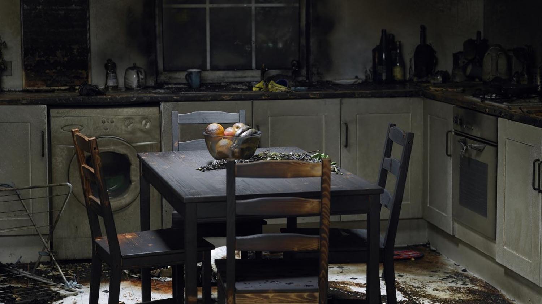 Ausgebrannte Küche in einem Privathaus