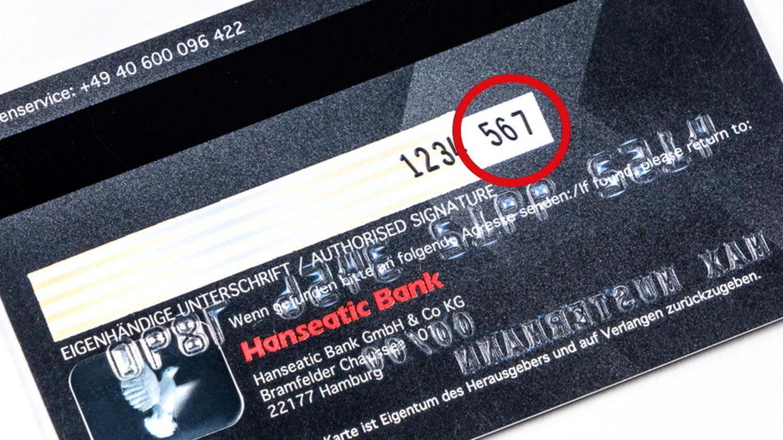 Sicherheitscode auf der Kreditkarte