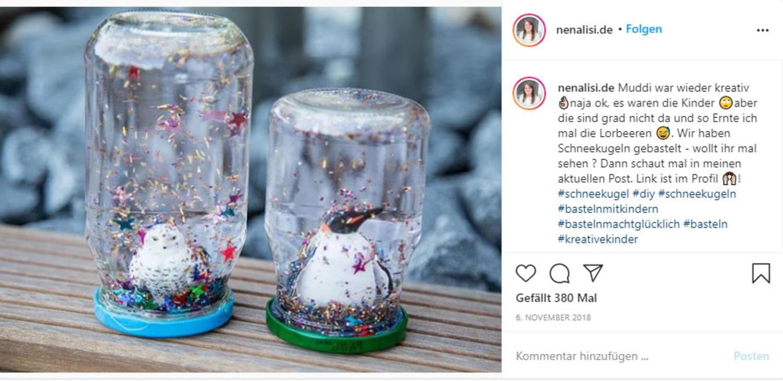 Selbst gebastelte Schneekugeln auf Instagram
