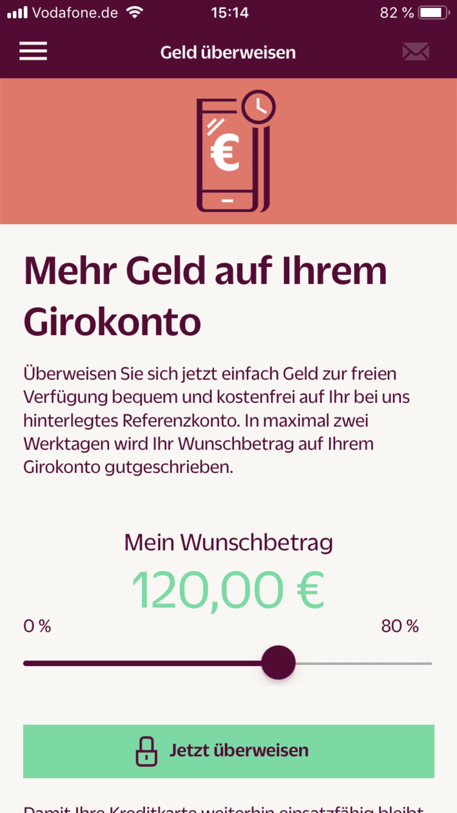 Smartphone-Screenshot vom Überweisen mit einer Hanseatic Bank-Kreditkarte auf das Referenzkonto