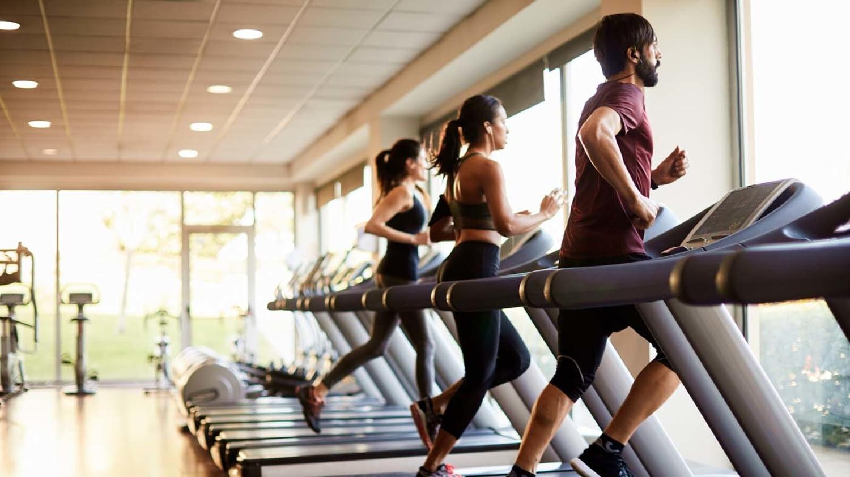 Ein Mann und zwei Frauen trainieren auf Laufbändern in einem Fitnessstudio