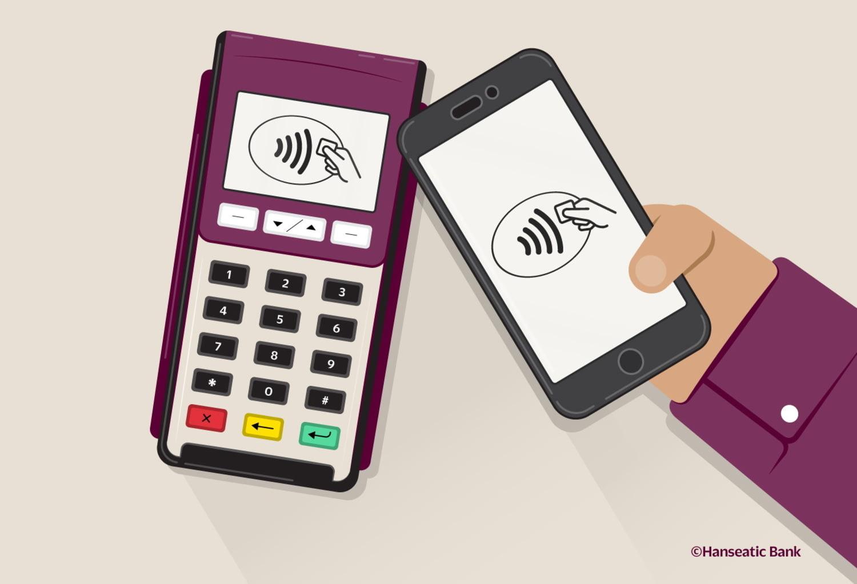 Grafik NFC-Symbol auf Smartphone und Bezahlterminal