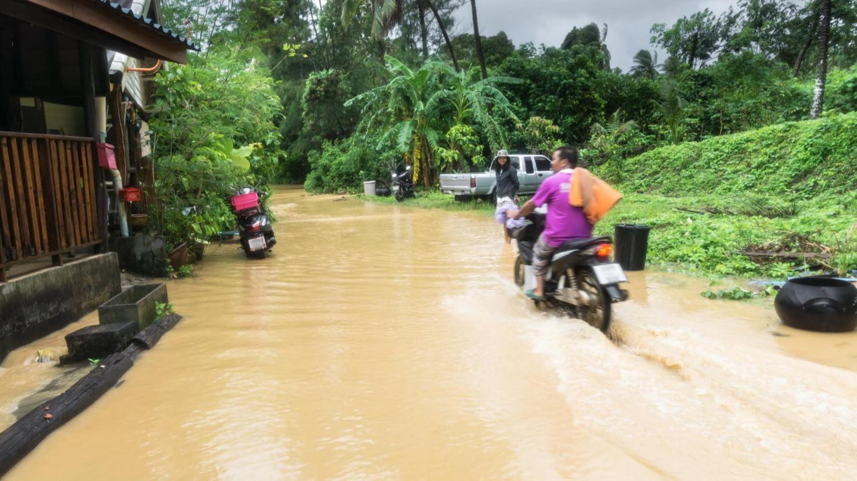 Ein Moped fährt in einem tropischen Land über eine überflutete Straße