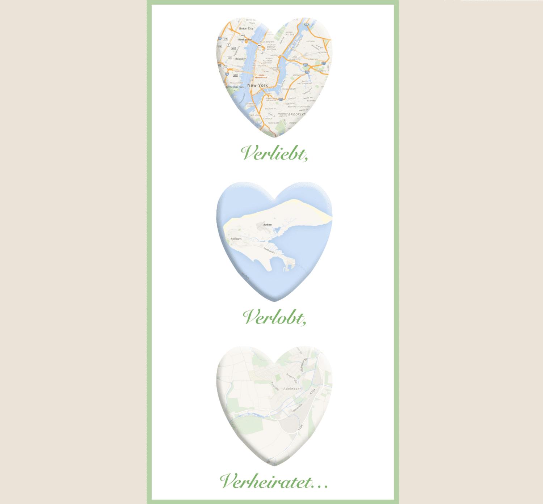 Bild mit drei Landkarten in Herzform untereinander auf einer Leinwand.