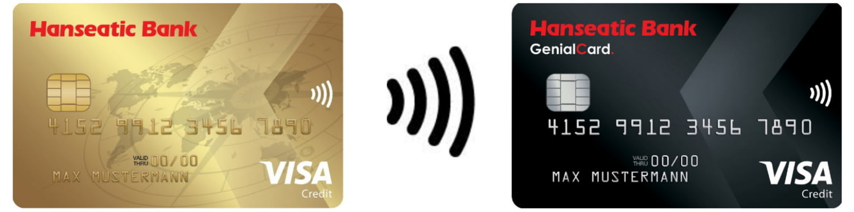 Hanseatic Bank GoldCard und GenialCard mit NFC-Wellensymbol