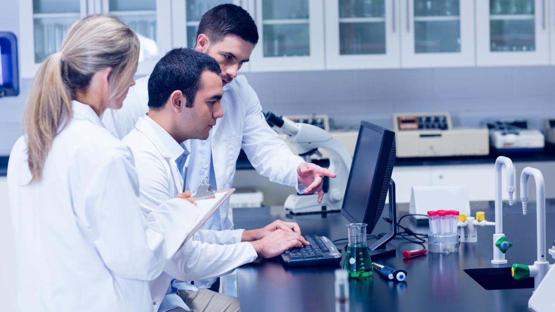 Naturwissenschaftsstudierende diskutieren mit Blick auf einen Computerbildschirm