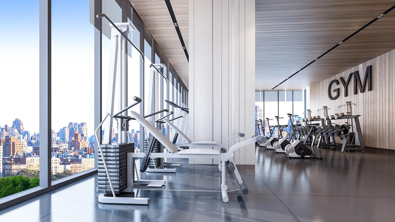 Leeres Fitnessstudio mit Fahrrad-Ergometer und Kraftstationen