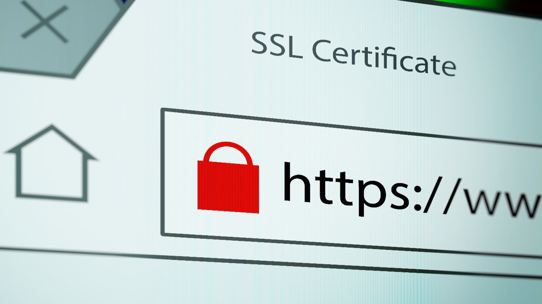 Online bezahlen mit Kreditkarte: URL-Leiste mit https und Schloss-Symbol