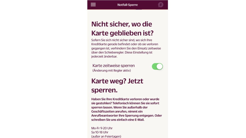Screenshot der Notfall-Sperre-Funktion der Hanseatic Bank App.