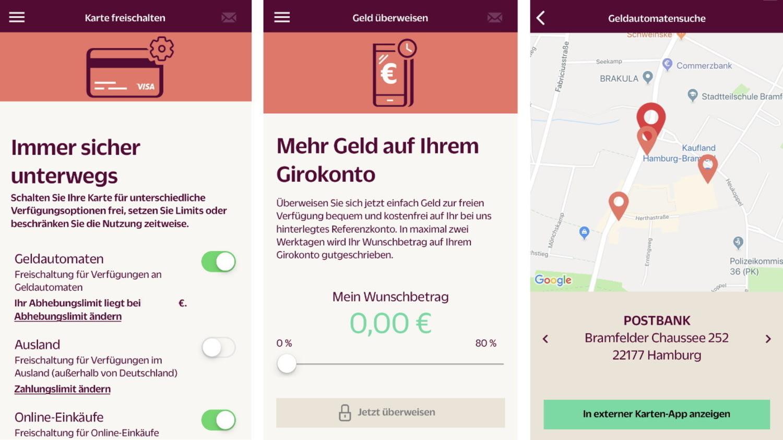 Screenshots von drei Funktionen der Hanseatic Bank App